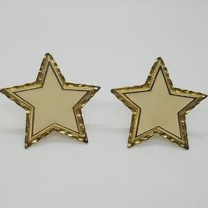 Vintage Escada Creme and Gold Star Earrings
